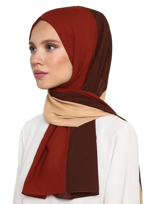 Women's Brown Color Islamic Wear Printed Scarf Hijab Dupatta