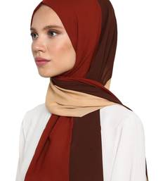 Women's Brown Color Islamic Wear Printed Scarf Hijab Dupatta