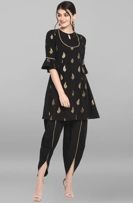 Black golden print crepe salwar