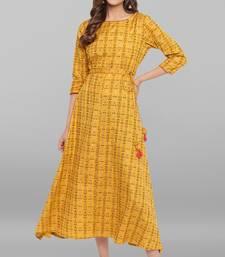 Mustard printed cotton maxi-dresses