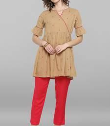 Beige woven cotton tunics
