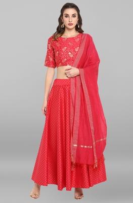 Pink golden print silk stitched lehenga