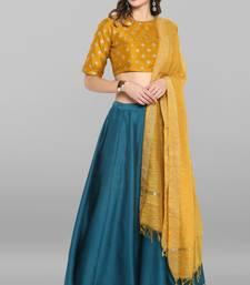 Green golden print silk stitched lehenga