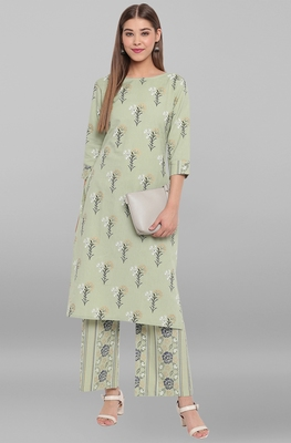 Light-green floral print cotton salwar