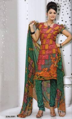 Dress Material Elegant French Crepe Printed Unstitched Salwar Kameez Suit D.No 5081