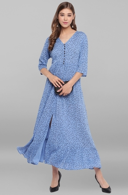 Blue printed viscose rayon long-kurtis
