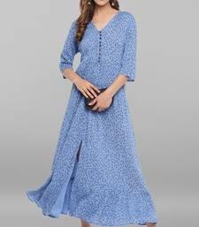 Blue printed viscose rayon long-kurtis