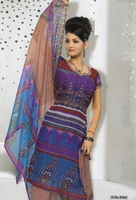 Dress Material Elegant French Crepe Printed Unstitched Salwar Kameez Suit D.No 5082