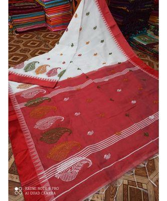 White Wiving Work Cotton Silk Handloom Saree With B.P
