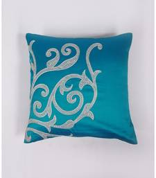 -Embroidered Turquoise Blue colour Cushion Cover in Polyester(16X16IN)