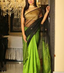 Buy Black woven silk saree with blouse