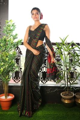 Black woven blended cotton saree