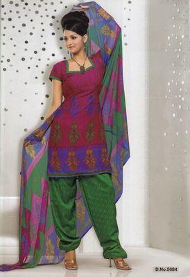 Dress Material Elegant French Crepe Printed Unstitched Salwar Kameez Suit D.No 5084