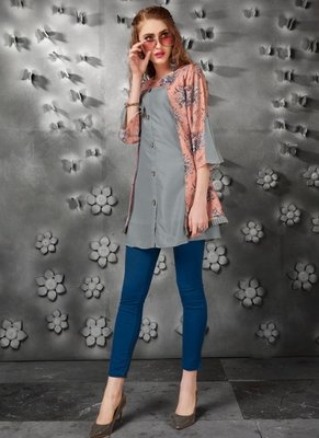 Grey embroidered art silk short-kurtis