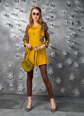 Mustard embroidered art silk short-kurtis