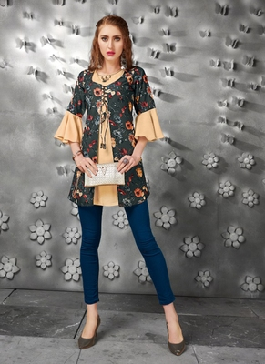 Beige embroidered art silk short-kurtis