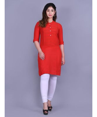 Red Cotton 3/4th Sleeves Solid Womens Kurta