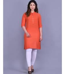 Orange Cotton 3/4th Sleeves Solid Womens Kurta