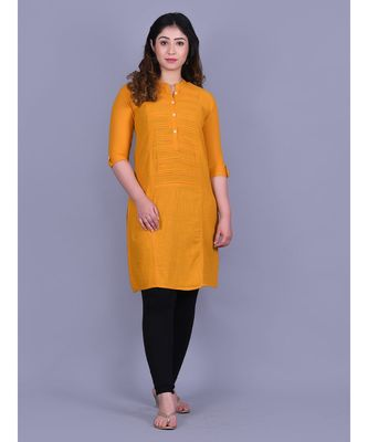 Mustured Cotton 3/4th Sleeves Solid Womens Kurta