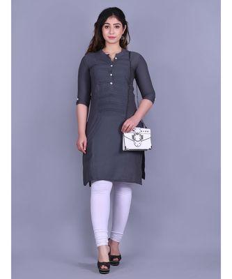 Grey Cotton 3/4th Sleeves Solid Womens Kurta