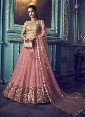 Pink Sequins embroidered net Semi Stitched bridal lehenga