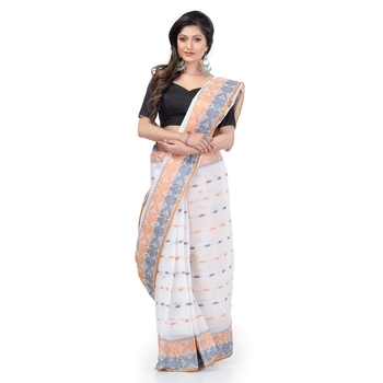 DESH BIDESH Women Bengal Tant Traditional Handloom Pure Cotton Saree Noyonchuri Design Without Blouse Piece