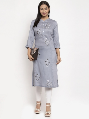 Grey embroidered rayon embroidered-kurtis