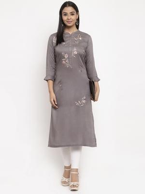 Grey embroidered rayon embroidered-kurtis