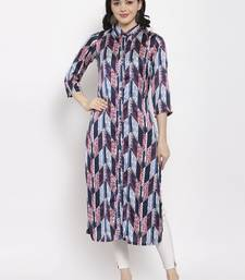 Navy-blue printed satin kurtas-and-kurtis