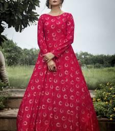 Rani Pink Georgette Foil Printed Designer Gown