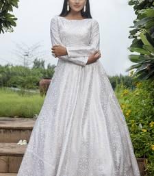 White Cotton Foil Printed Designer Gown
