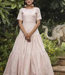 Light Peach Cotton Thread Work Designer Gown