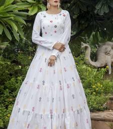 White Cotton Thread Work Designer Gown