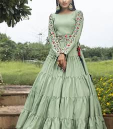 Pista Green Cotton Thread Work Designer Gown