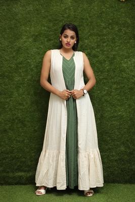 Women Green Long Kurti And White Long Jacket For Girls