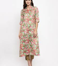 Sea-green printed art silk kurtas-and-kurtis