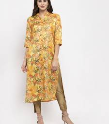 Yellow printed art silk kurtas-and-kurtis
