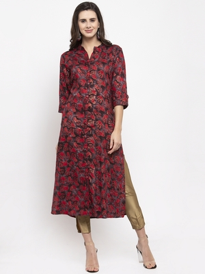 Brown printed rayon kurtas-and-kurtis