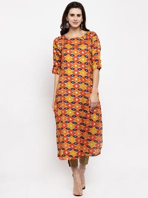 Orange printed art silk kurtas-and-kurtis