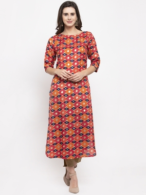 Magenta printed art silk kurtas-and-kurtis