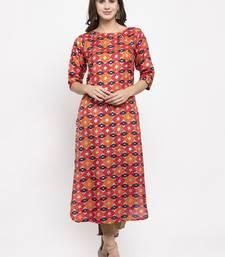 Magenta printed art silk kurtas-and-kurtis