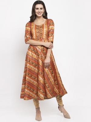 Light-brown printed art silk kurtas-and-kurtis