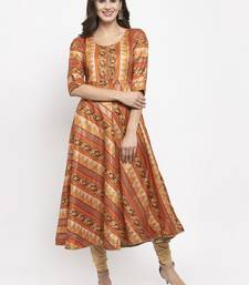 Light-brown printed art silk kurtas-and-kurtis