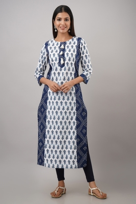 SVARCHI Women's Cotton Booti Bandhej Print Straight Kurta (Blue & White)
