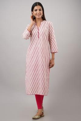 SVARCHI Women's Cotton Cambric Lehriya Print Straight Kurta (Pink)
