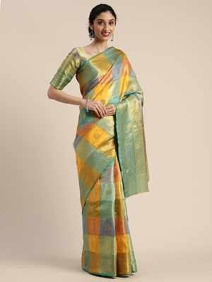 Multicolor woven silk blend saree with blouse