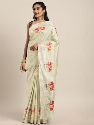 Beige embroidered chanderi saree with blouse