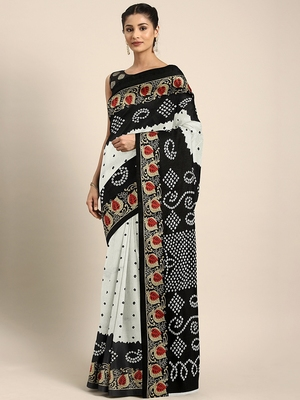 White printed silk blend saree with blouse