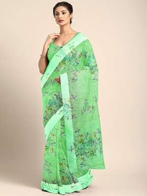 Green printed blended cotton saree with blouse
