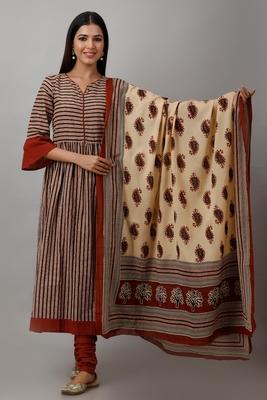 Women's Cotton Cambric Block Print Anarkali Kurta Churidar Dupatta Set (Beige & Red)